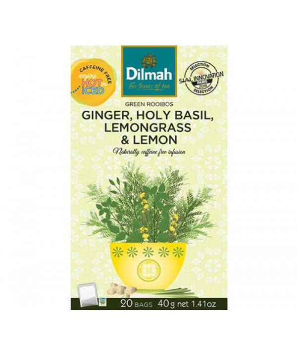 Dilmah Holy Basil, Ginger, Lemon & Lemongrass Green Rooibos 20's